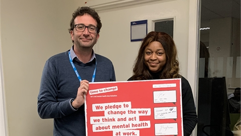 Abbey Ojo (VP Welfare and Community) and John Abell (Chief Executive) with our Time to Change Employ