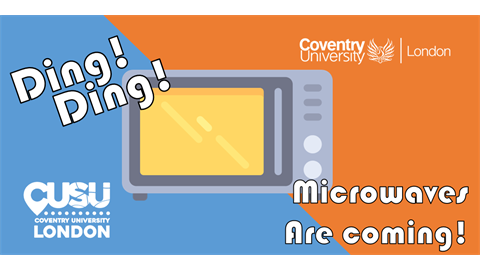 "A graphic of a microwave is shown with a blue and orange background. The words ""Ding! Ding! Mic"