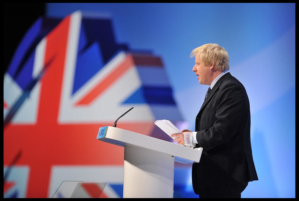 A picture of Boris Johnson, the leader of the Conservative Party and the current Prime Minister.