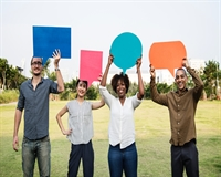 People holding speech bubbles