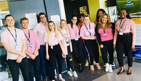 Picture of CUSU staff in pink for breast cancer awareness month