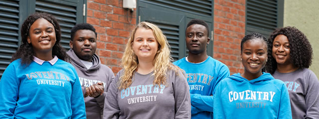 The six sabbatical officers standing outdoors and smiling
